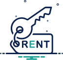 a key on top of a rectangle containing the word rent
